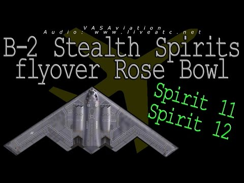[REAL ATC + REAL VIDEO] B-2 Stealth FLYOVER ROSE BOWL Stadium