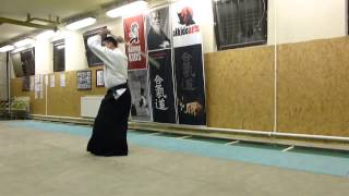 ashi no fumikae mae suburi- boken [TUTORIAL] basic Aikido weapon technique 合気剣