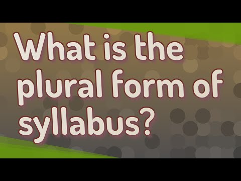 What Is The Plural Form Of Syllabus?