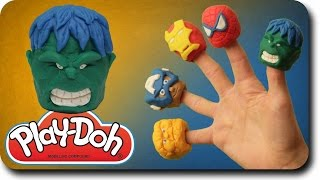 Finger Family Rhymes Hulk Vs Play Doh Superhero Cartoon   Marvel Avengers Spider Man Nursery Rhymes