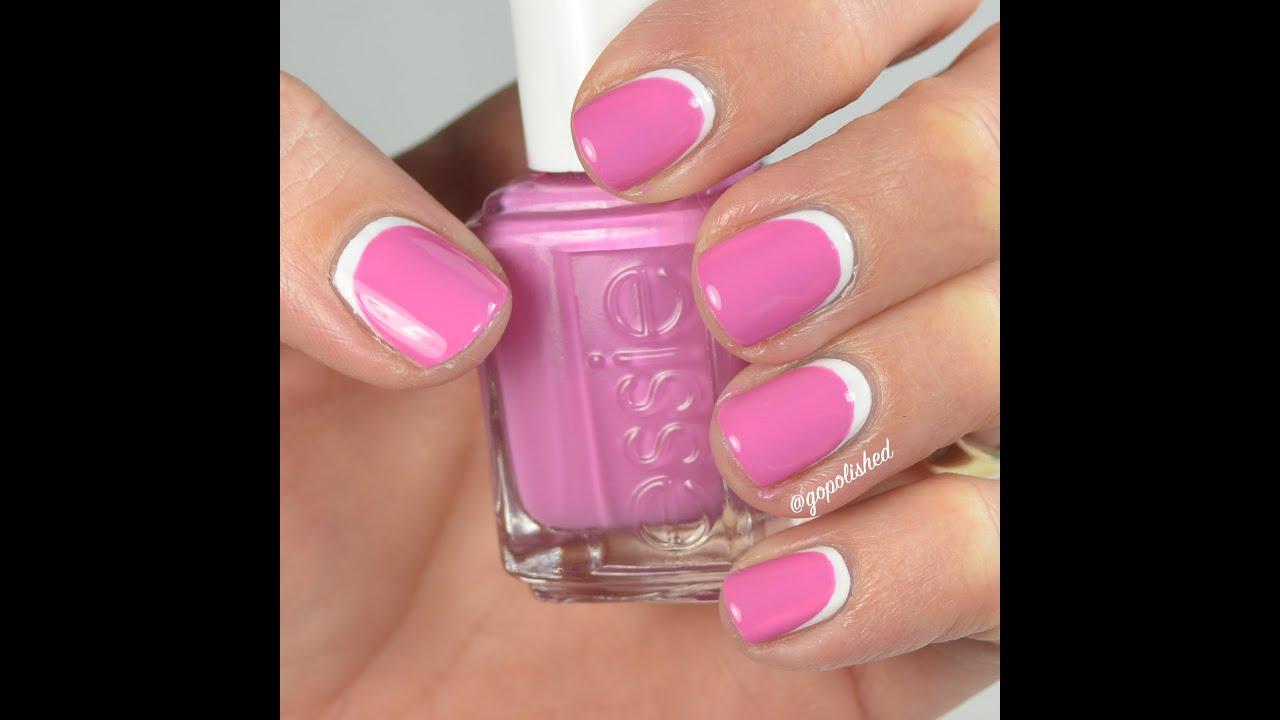Nail Tutorial: Reverse French (pink and white) - YouTube
