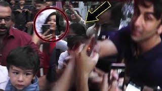 SHAME: Crazy Fans Mob Ranbir Kapoor, Taimur Ali Khan During Christmas Party