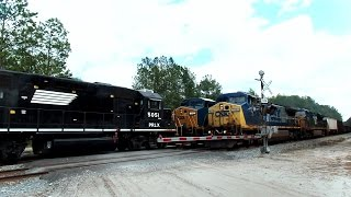 CSX Power Move Trains Pass Head On