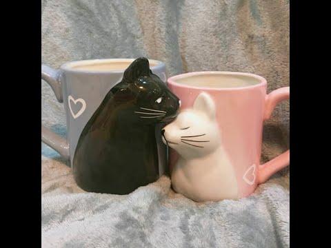 Cute Kissing Cat Tea Cugs Set/ Ceramic Handmade Coffee Mugs/ Couple Gift Idea for Cat Lovers