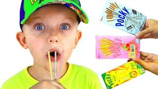 Funny stories for kids with  pocky food Mukbang Martin and Monica