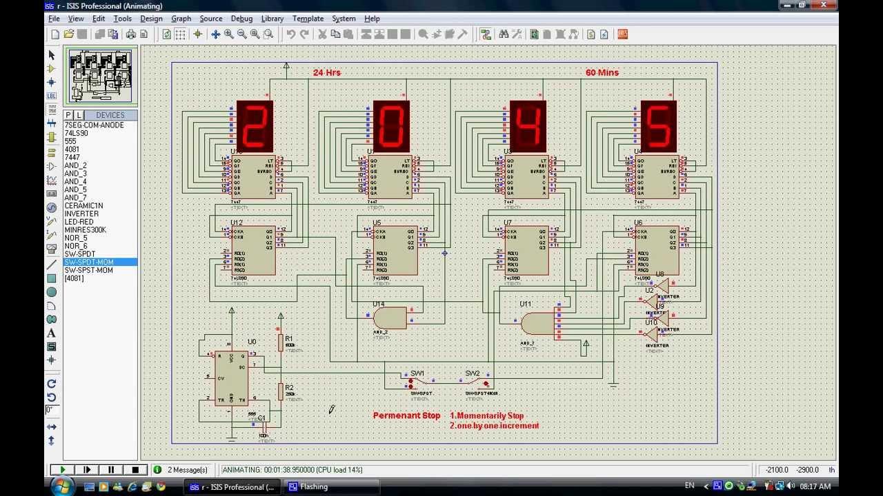 digital clock circuit simulation [ 1280 x 720 Pixel ]