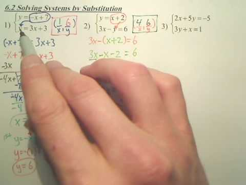 Algebra 1 6 2 Solving Systems By Substitution Youtube