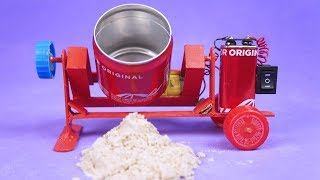 AMAZING MINI CONCRETE MIXER WITH ALUMINUM CANS AND DC MOTOR