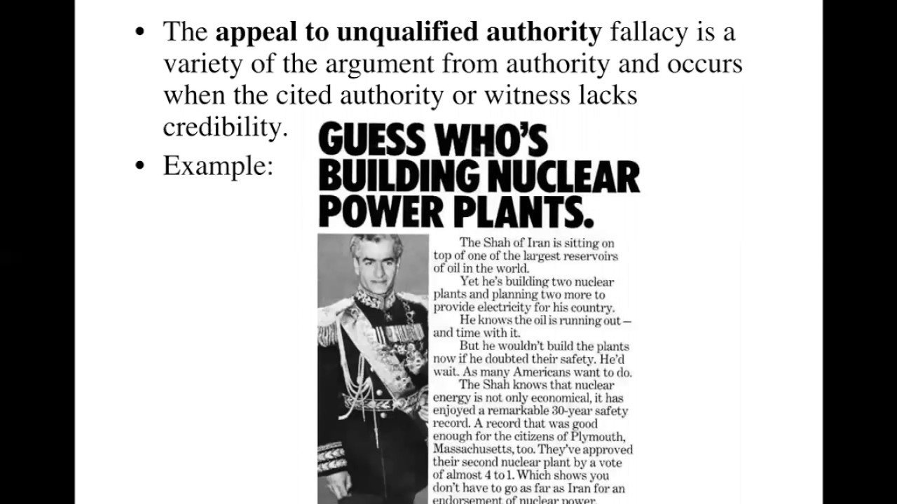 The Fallacy Of Appeal To Unqualified Authority