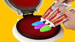 EXPERIMENT: Waffle Maker VS Rainbow Toothpaste