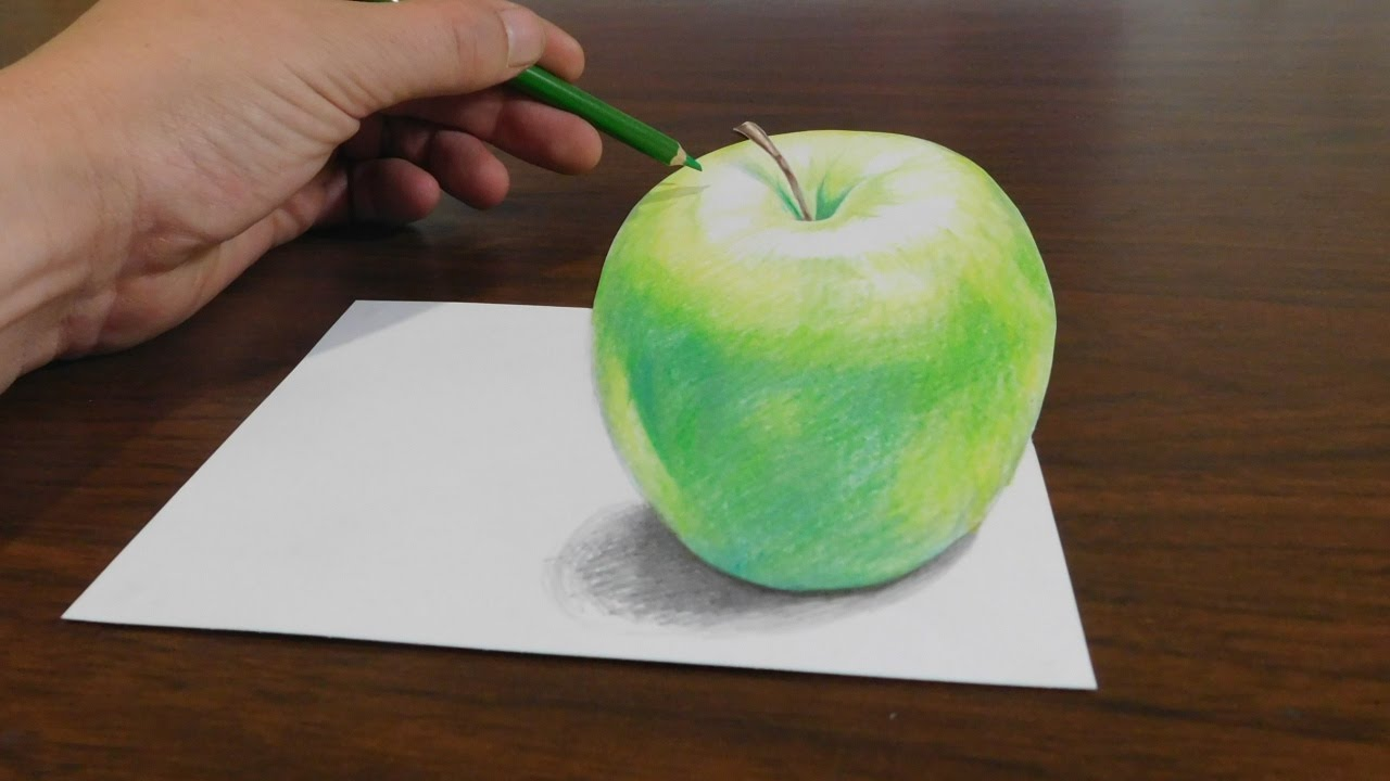 drawing a 3d apple trick art optical illusion youtube. Black Bedroom Furniture Sets. Home Design Ideas