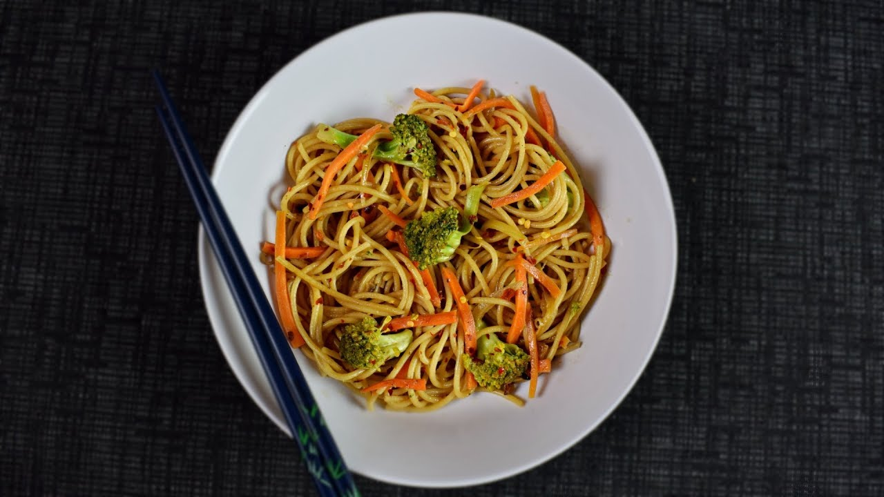 Vegetable Noodles Stir Fry In Peanut Tamarind Sauce Youtube