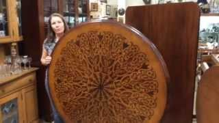 """Antique Tilt Top Marquetry 54"""" Round Dining Room Table Bird"""