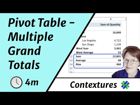 Multiple Grand Totals in Excel Pivot Table