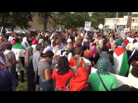 1,500 plus Free Palestine rally Minneapolis Minnesota and 4 Zionests