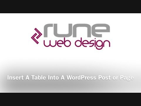 Insert A Table Into A WordPress Post or Page