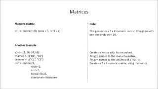 R-Studio: erstellen von Matrizen (in weniger als eine minute)?
