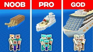 Minecraft NOOB vs PRO vs GOD: FAMILY BOAT HOUSE BUILD CHALLENGE in Minecraft (Animation)