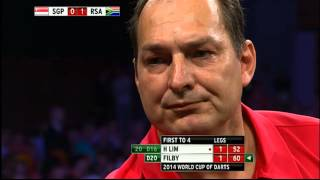 Singapore v South Africa | Round 2 | H. Lim v Filby | Word Cup of Darts 2014