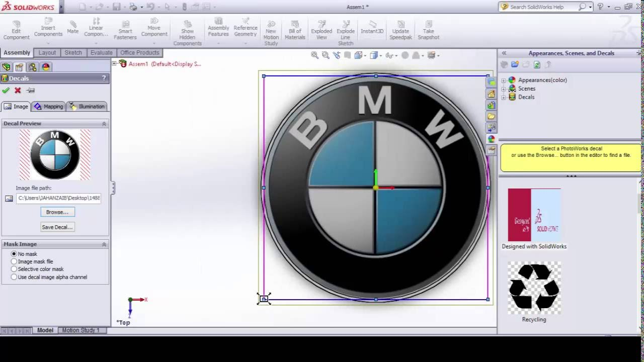 How to insert image or logo in solidworks, Insert decal in ...