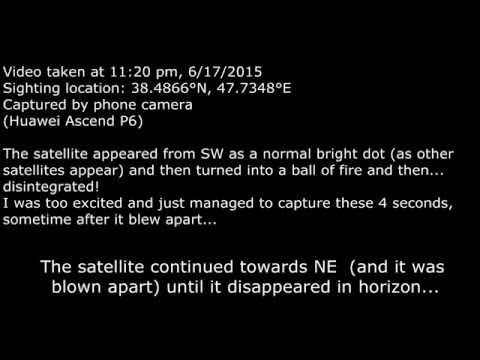 A satellite reentry sighted by accident and caught on phone camera