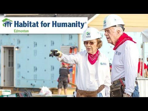 Jimmy Carter in Edmonton helping Habitat for Humanity