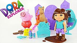 Dora la Exploradora y Pony Salon, Charcos de Lodo Play Doh Con Peppa Pig