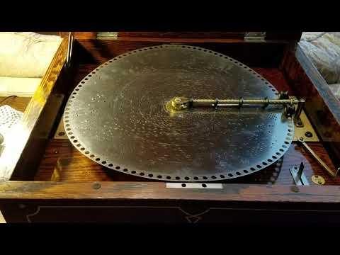 "Regina 15.5"" Music Box, Model 11, Oak Pinstripe Plays ""Stars And Stripes Forever."""