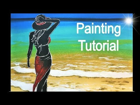 How to paint a WOMAN on the BEACH. Painting Tutorial in acrylics (Lady in red)