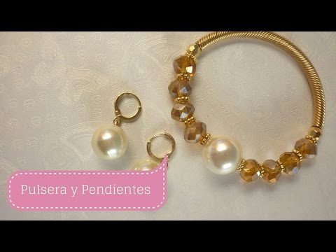58a95e0b53af Manualidades  PULSERA y PENDIENTES con perla MODERNOS  bisutería DIY ♥