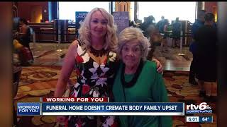 Family says Indy funeral home held grandmother's body for weeks without cremating