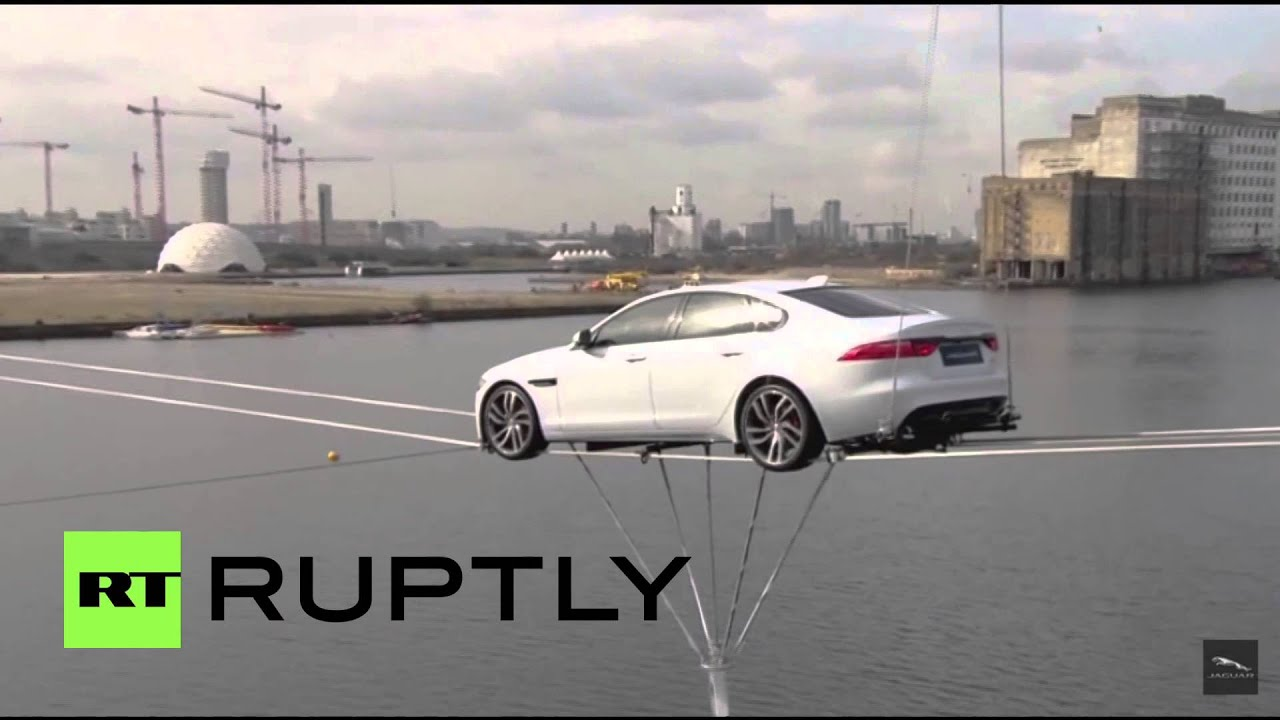 Uk Watch All New Jaguar Xf Unveiled By Driving On Tightrope