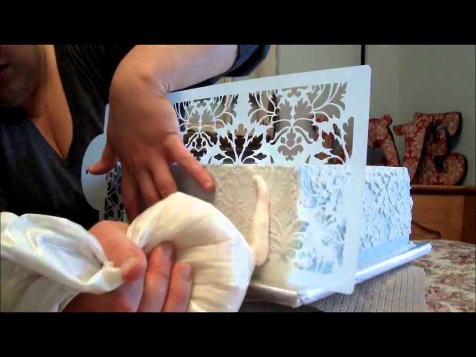 Damask Stenciling In Buttercream Tutorial Youtube