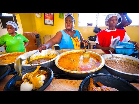 First Time Trying GHANAIAN FOOD!! Amazing Palm Nut Soup in Accra, Ghana, West Africa!