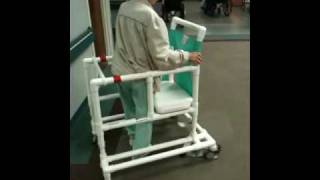 Old lady wheelchair riding