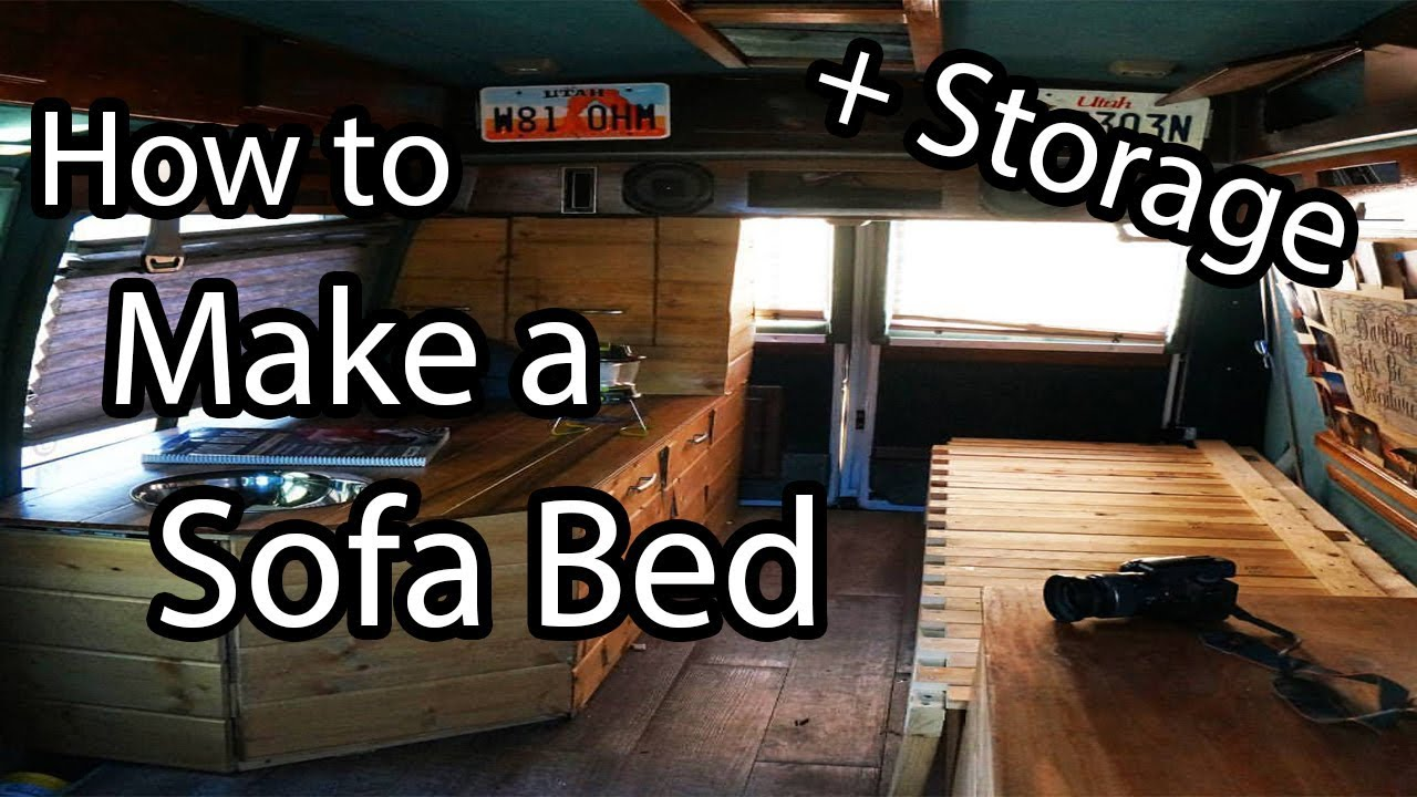 sofa beds for motorhomes cheap bed toronto how to build a hinged your camper van youtube