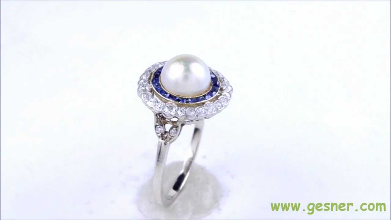 Excellent 7.5mm Pearl, Sapphire, Diamond & Platinum/White Gold Art Deco  RT21