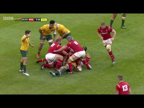 Scott Williams scores against the Wallabies in the Under Armour Series   WRU TV