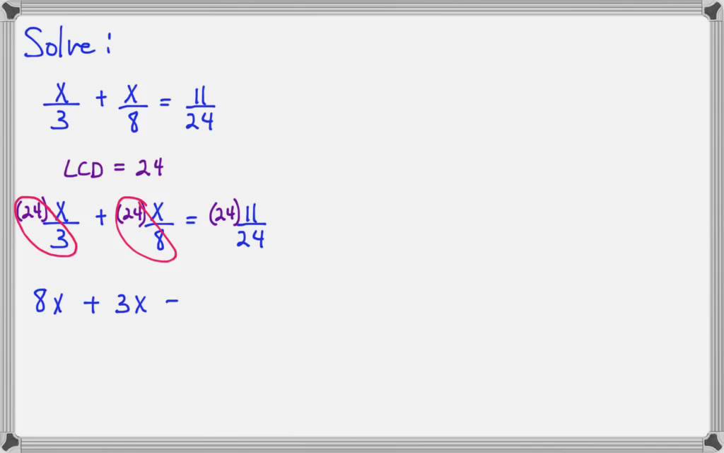 Solving Linear Equations With Fractions Introductory Algebra Youtube