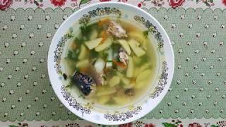 Суп из рыбных консервов скумбрии