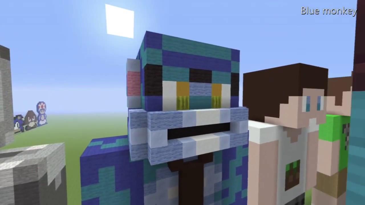 Minecraft: New Blue Monkey Skin Statue Tutorial - YouTube