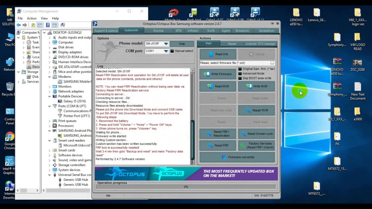 2017⇒How to Reset FRP without Combination file All New Model Octopus  Samsung tools 2 4 7