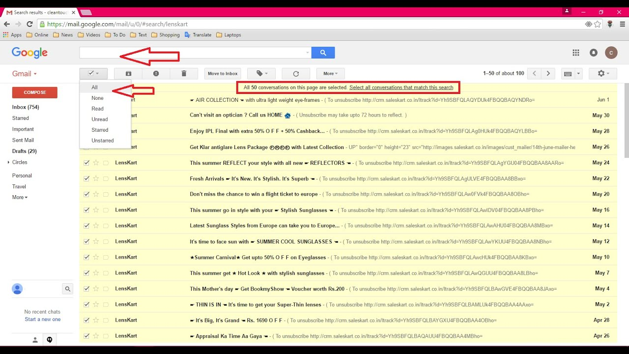 Gmail: Easy way to Delete All Emails from Particular Sender in Single Click