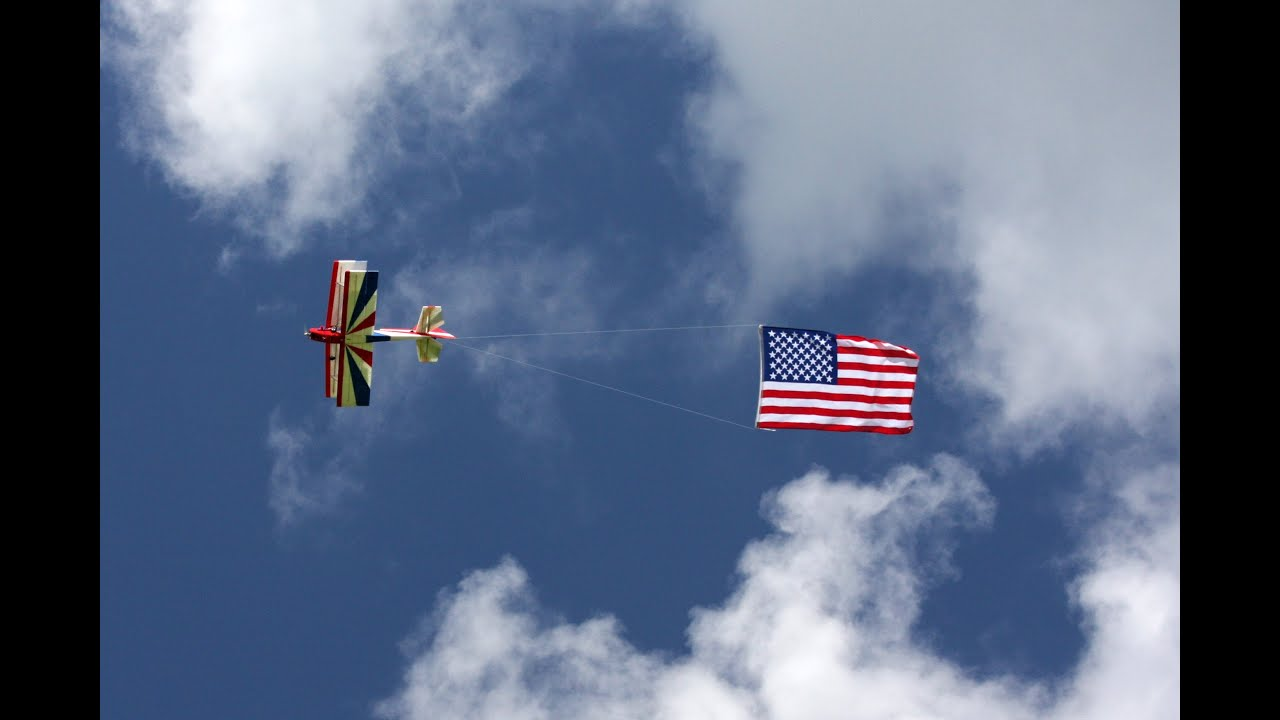 towing the american flag with a rc biplane youtube