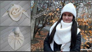 Бактус или треугоный шарф платочной вязкой с зубчатым краем. Вяжем спицами. Мастер-Класс
