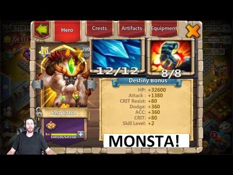 Sasquatch MAXED 12-12 SKILL BEAST MODE Owning Bases Castle Clash