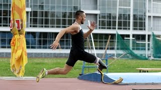 Training in long jump paralympic disabled athlete Vadim Aleshkin