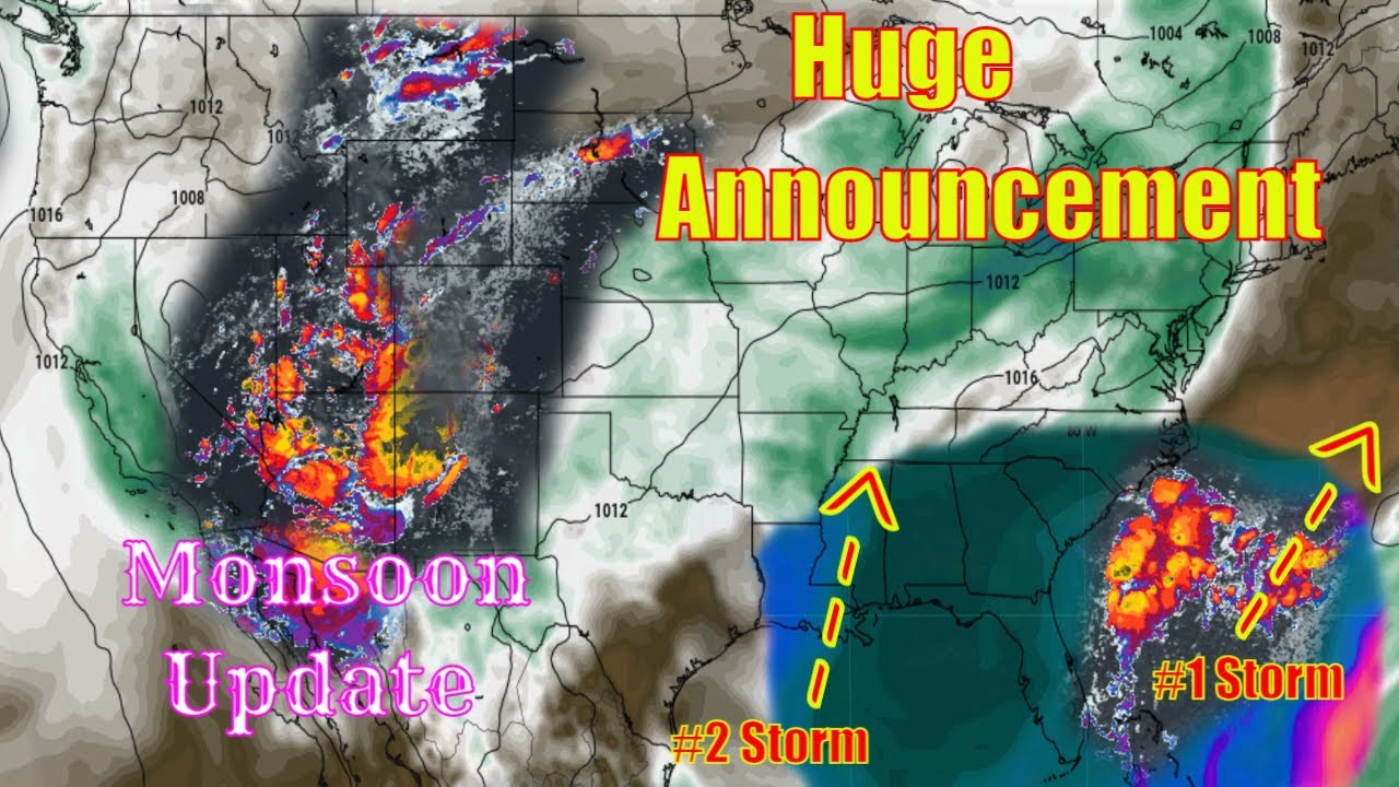 2 Storms Brewing Southeast U.S - Monsoon Update, Severe Weather Northeast - The WeatherMan Plus