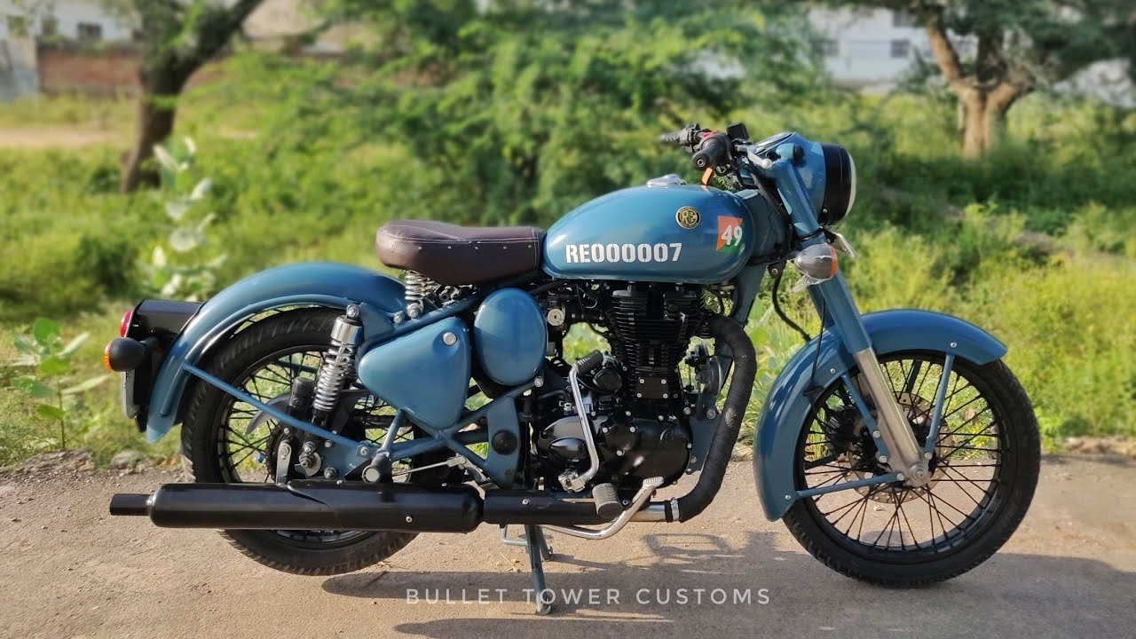 Royal Enfield classic 500 modifications | airborne blue paint job |Bullet tower sikar