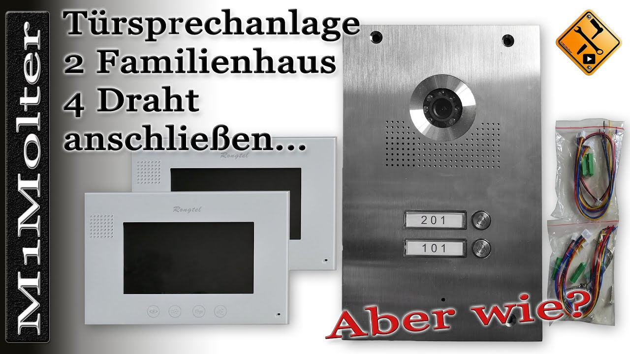 Video Türsprechanlage 2 Familienhaus 4 Draht anschließen - Rongtel ...